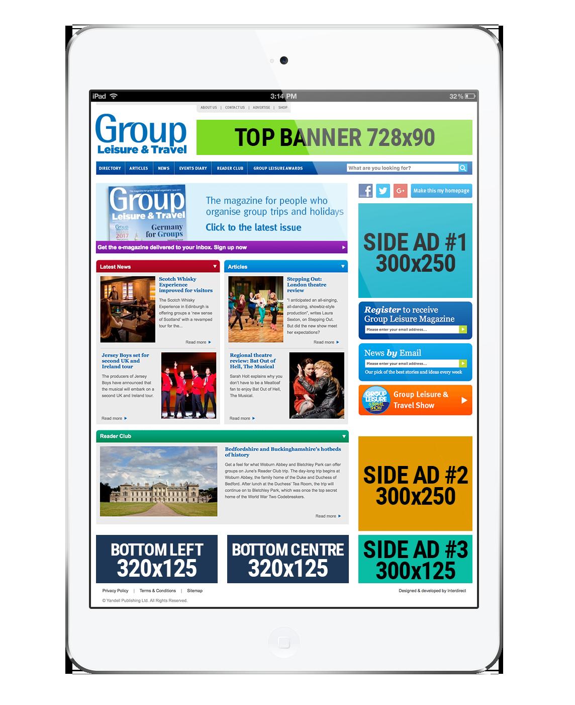 groupleisure.com website advertisement locations