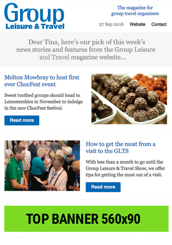 Group Leisure e-newsletter top banner placement